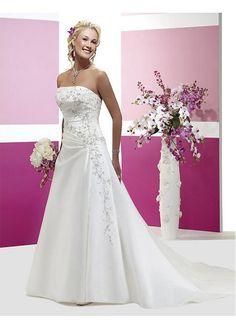 Elegant Exquisite Satin A-line Strapless Wedding Dress In Great Handwork