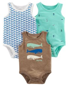 Let him mix and match with these cool tank-top bodysuits, featuring sweet prints and ribbed trim.