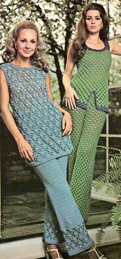 c040e62c2c1 2 Pant Suits Crochet Pattern 1960s Womens Tunic Mesh Pant and Top Outfits  Bell Bottoms Crochet