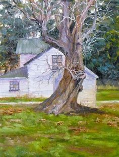 """Daily Paintworks - """"Farm to Canvas ~ Old Homested Tree"""" - Original Fine Art for Sale - © Vincenza Harrity"""