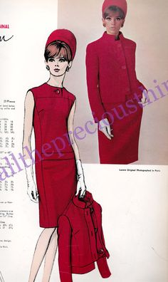 60s LANVIN Mod Evening Dress & Jacket Pattern Vogue Paris