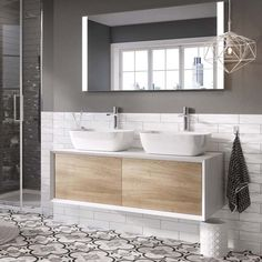 Harbour Scene Wall Mounted Countertop Vanity Unit Gloss White and Oak. Push to open soft close drawers, Extra deep drawer area, Select your own tall or wall mounted tap, 2 year guarantee. Double Basin Vanity Unit, Sink Vanity Unit, Bathroom Vanity Units, Wall Mounted Vanity, Bathroom Ideas, Barn Bathroom, Bathroom Sinks, Modern Bathroom, Countertop Basin
