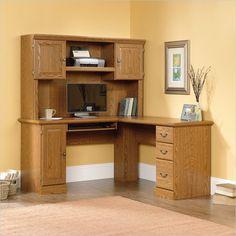 Lowest price online on all Sauder Orchard Hills L Shaped Computer Desk in Carolina Oak - 401929