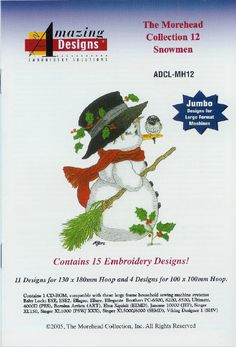 15 Snowman Machine Embroidery Designs -Amaizing Designs - AD MH12 Morehead Collection 12 Snowmen- Pes Hus Shv Vip Instant Download by CreaInvento on Etsy https://www.etsy.com/listing/491069273/15-snowman-machine-embroidery-designs