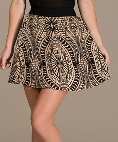 Another great find on #zulily! Beige Tribal A-Line Skirt #zulilyfinds