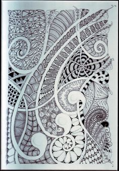 """curvy zentangle. Draw lines through space, """"double them"""", leave the space in-between white and fill in negative spaces."""