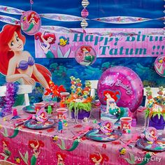 Little Mermaid Theme - A shore thing! Get ready for your under-the-sea adventure with these Little Mermaid party decoration ideas. Our pretty ocean-inspired teal, pink and purple color scheme will be so inviting that your guests will want to jump right into the party.