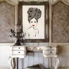It makes me so happy to see how different people frame and display my prints in their personal spaces. I couldn't love this one more - it's by Sadie Burton for Fredericks Furniture. The framed illustration in this pic is my LACE RIVIERA Limited Edition Print - available from my online shop: meganhess.com