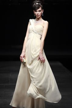 Beaded One Shoulder Champagne Evening Dresses