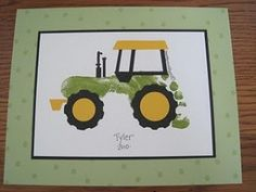 A footprint tractor, perfect for a fan of the John Deere tractors! Cute Crafts, Crafts To Do, Crafts For Kids, Arts And Crafts, Diy Crafts, Toddler Crafts, Projects For Kids, Art Projects, Christmas Crafts