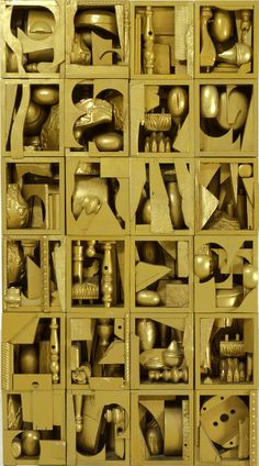 The Golden Pearl 1962 Louise Nevelson Louise Nevelson, Joseph Cornell, Modern Sculpture, Sculpture Art, Found Object Art, Art Moderne, Assemblage Art, Everyday Objects, Mellow Yellow