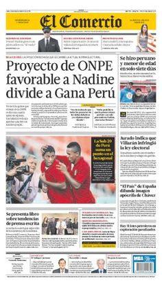 """Buenos días. """"Hoy en la portada de El Comercio: Proyecto de ONPE favorable a Nadine divide a Gana Perú"""""""