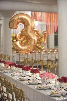 Gold Mylar balloons as giant table numbers #tablenumbers #weddingdecor #gold