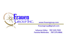 Tarjetas de presentación Frauen Group, Inc, Guaynabo, Puerto Rico.