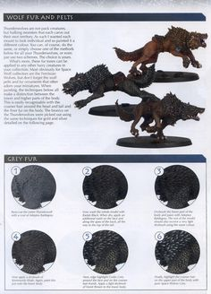 Guide, Tutorial, Wolf - Wolf Fur Tutorial 1 of 2 - Gallery Warhammer Figures, Warhammer Paint, Warhammer 40k Miniatures, Wolf Painting, Painting Tips, Painting Techniques, Warhammer Skaven, Warhammer Fantasy, Warhammer 40k Space Wolves