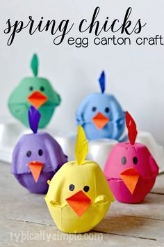 Spring Chicks Egg Carton Craft - Typically Simple Using something old, making something new! These super cute egg carton chicks are the perfect kids' craft for spring. Need excellent ideas about arts and crafts? Spring Crafts For Kids, Bunny Crafts, Crafts For Kids To Make, Easter Crafts For Kids, Toddler Crafts, Egg Crafts, Wood Crafts, Children Crafts, Cardboard Crafts