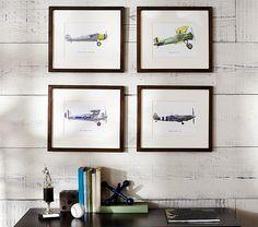 Vintage Airplane Framed Set   Pottery Barn Kids