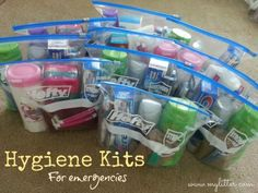 Emergency Personal Hygiene Kit 2 unbreakable combs (no sharp handles) 4 toothbrushes (packaged) 1 tube of toothpaste (6-8 oz., no pumps) 2 bars of soap (approximately 4 to 5 oz.) 2 hand towels