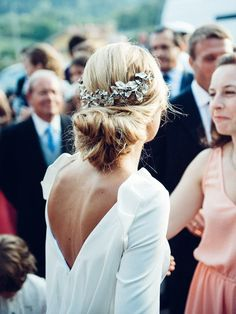 Tuck a statement headpiece into a low bun for an elevated glamorous boho vibe.