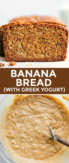 This is the best! Banana Bread With Greek Yogurt! is bursting with flavor and made with tons of healthy ingredients. This recipe can be made with or without chocolate chips and/or nuts. Skinny Banana Bread, Banana Bread Cake, Healthy Banana Bread, Banana Bread Recipes, Diy Food, Chocolate Chips, Greek Yogurt, Fun Desserts, Breakfast Recipes