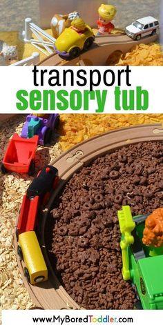 transport sensory tub. A fun truck sensory play ideas. A train and car sensory bin that toddlers and preschoolers will love. #sensorytub #sensorybin #toddleractivity #truckplay #carplay #transport