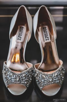 Badgley Mischka open-toed champagne wedding day shoes, adorned with rhinestones. -Angela Renee Photography. See more wedding day looks and inspiration at http://angelareneephoto.com/