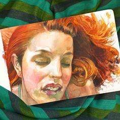 La petite mort #lapetitemort #amarnamiller #portrait #watercolor #moleskine #moleskineart #sketchbook #orgasms #pornstar #redhair  #pleasure #placer #sex #sexy #drawing #art #woman #bed #mujer #orgasmo
