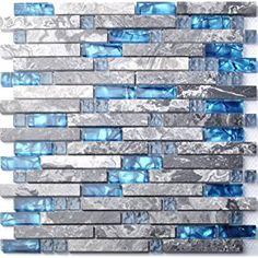 home building glass tile kitchen backsplash idea bath shower wall decor blue gray wave marble interlocking