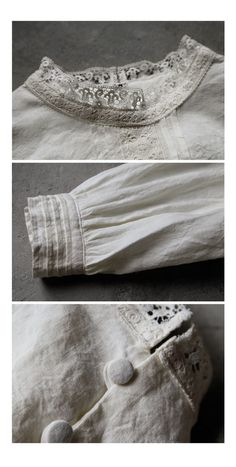 BerryStyle: Joie de Vivre French linen washer antique Teru Dan blouse - Purchase now to accumulate reedemable points! Sleeves Designs For Dresses, Sleeve Designs, Iranian Women Fashion, Lace Outfit, Japan Fashion, Linen Dresses, Comfortable Outfits, Fashion Details, Dressmaking