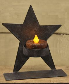 Standing Star Wrought Iron Tea Light Candle Holder-Floating Star Tealight Holder Wrought Iron