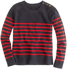 J CREW Tortoise Button Sweatshirt Stripe Navy Blue Red Sweater Top Nautical S #JCrew #Crewneck