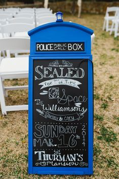 Courtney + Cory's Doctor Who Wedding in Texas - TARDIS Chalkboard Sign - Catie Bartlett Photography