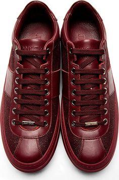 Jimmy Choo: Burgundy Sparkle Portman Sneakers