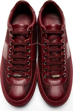 Jimmy Choo: Burgundy Sparkle Portman Sneakers