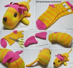 Sewing Stuffed Animals Cute stuffed animal made from socks - We've put together lots of Sock Animals that you are going to love to make. Check out all the free patterns and tutorials now. Sock Crafts, Fabric Crafts, Fun Crafts, Crafts For Kids, Diy Sock Toys, Sewing Toys, Sewing Crafts, Sewing Projects, Operation Christmas Child
