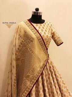 Gorgeous gold brocade Kunal Vagela bridal lehenga. #Frugal2Fab