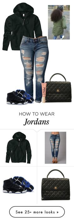 """""""Untitled #1053"""" by therealslimm on Polyvore featuring Hanes, Chanel, Too Faced Cosmetics, women's clothing, women, female, woman, misses and juniors"""