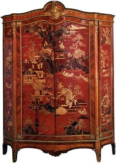 "rom about 1740 to 1770, the taste for ""chinoiseries"" was at its peak. This fine armoire in rosewood and Chinese lacquer, located in the Salon de Musique in the Château de Compiègne, may thus be from that period. But unfortunately, unlike paintings, pieces of furniture are rarely signed and dated."