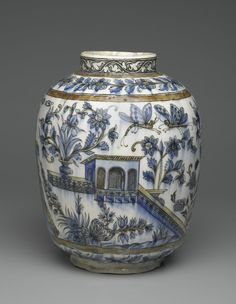 Vase with Architectural, Figural, and Floral Designs, 19th century. Ceramic; fritware, painted in black, cobalt blue, and green under a transparent glaze, 13 1/4 x 11 in. (33.6 x 28 cm). Brooklyn Museum, Designated Purchase Fund, 73.144.2. Creative Commons-BY (Photo: Brooklyn Museum, 73.144.2_side2_PS2.jpg)