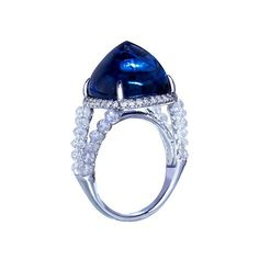 Natural no-heat Royal Blue Burmese Sapphire, 20 carats; surrounded by diamond beads - by Forms