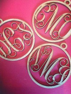 Monogram Ornament, Custom Ornament, Laser Engraved, Christmas, Wooden Monogram