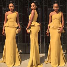 Arabic Dubai Nigeria African Style 2018 Daffodil One Shoulder Mermaid Bridesmaid Dresses Sexy Peplum Long Wedding Formal Gowns Custom Made African Dresses For Women, African Attire, African Wear, African Women, African Style, African Evening Dresses, African Design, African Inspired Fashion, African Print Fashion