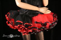 Harley quinn adult tutu mini black red skirt by SistersOfTheMoon