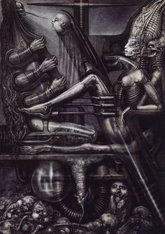 Death-Bearing Machine by HR Giger Hr Giger Art, Hr Giger Alien, Bizarre Kunst, Bizarre Art, Arte Horror, Horror Art, Arte Cyberpunk, Psy Art, Alien Art