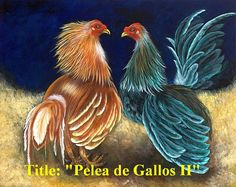 "On Sale!!  Oil paintings on canvas ""Rooster fighting"" 16""x 24""  ."