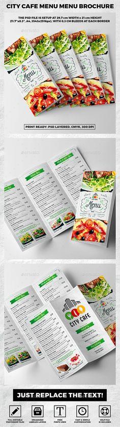 Trifold A4 City Cafe Menu Template vol.1