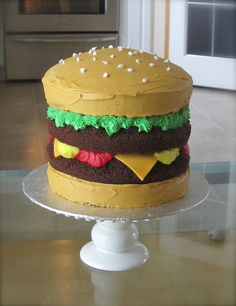I made this Cheeseburger Cake for my daughter's school BBQ.  It was super easy:http://amixtureofmediums.blogspot.com/