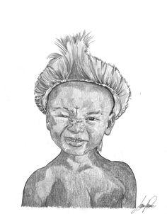 Titolo: Piccolo maori.   Citazione: Un guerriero non rinuncia mai a quello che ama... Egli trova l'amore in quello che fa.   Eseguito con penna, matita e china, formato A4
