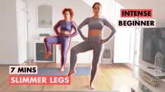 AMAZING Slimmer Legs Workout 7 Mins- Level Up Series Health And Fitness Articles, Health Fitness, Slim Legs Workout, Leg Thigh, Thigh Exercises, Level Up, Workout For Beginners, Easy Workouts, Thighs