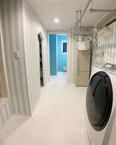 @elephanty_home_ - Instagram:「2019.3.25 花子ハウスの ランドリールーム初公開💙💙 * * * こんばんは💙 我が家の間取り大成功ランキング 上位の 洗濯室&脱衣室&ファミクロをご紹介します😊💙…」 Stacked Washer Dryer, Washer And Dryer, Laundry Room, Washing Machine, Home Appliances, House, Instagram, House Appliances, Home